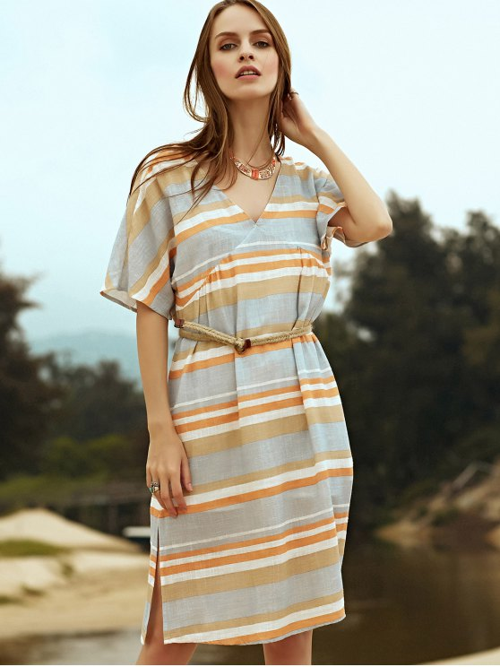 Belted Striped Plunging Neck Short Sleeve Dress - GRAY L Mobile