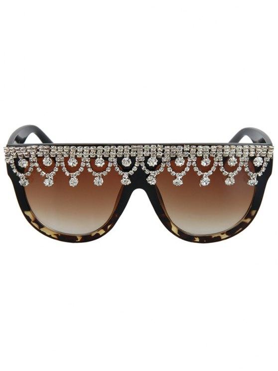 Rhinestone Pendant Fringed Leopard Match Sunglasses - BLACK  Mobile