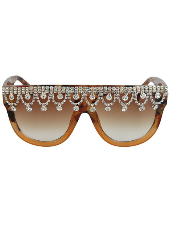 Rhinestone Fringed Camouflage Sunglasses - EARTHY  Mobile