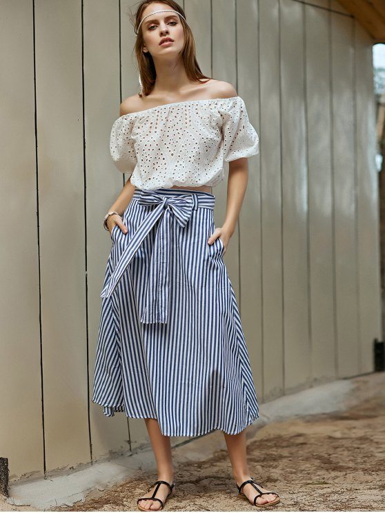 Striped A-Line Belted Skirt - BLUE L Mobile