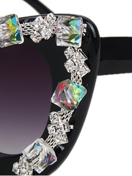 Quadrate Rhinestone Cat Eye Sunglasses - BLACK  Mobile