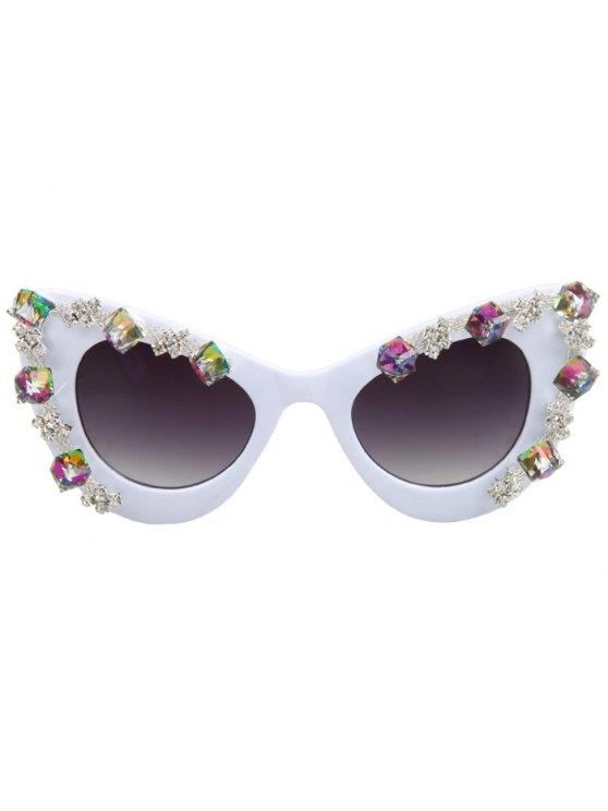 Quadrate Rhinestone Cat Eye Sunglasses - WHITE  Mobile