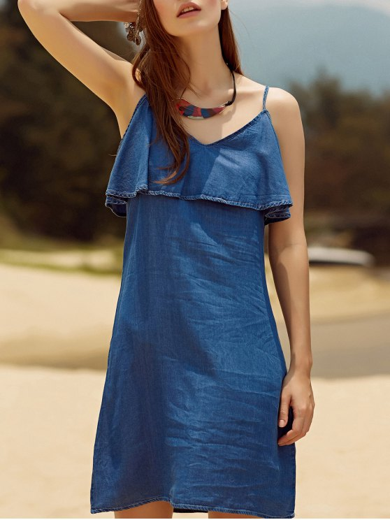 affordable Ruffled Chambray Cami Dress - BLUE M