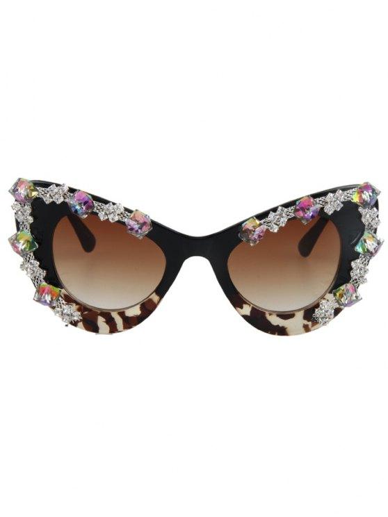 Rhinestone Leopard Match Cat Eye Sunglasses - BLACK  Mobile