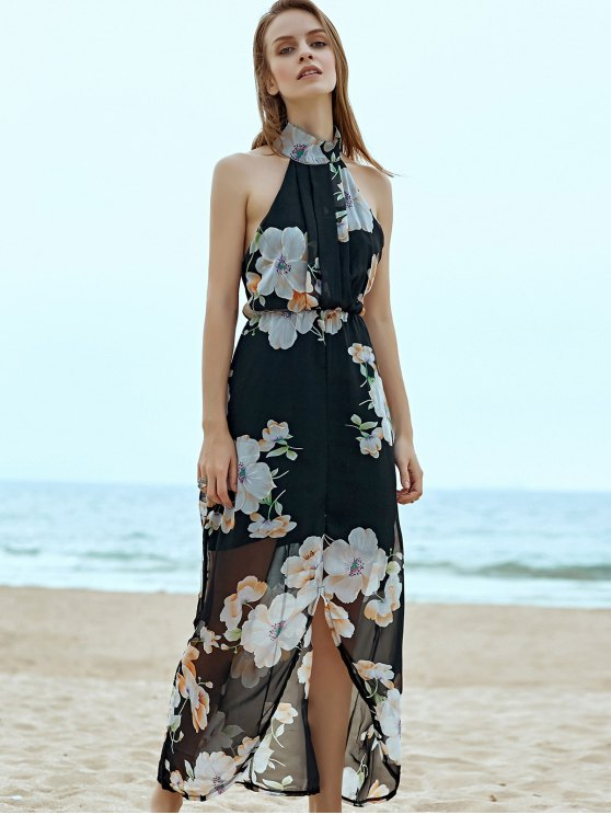 Floral Chiffon Beach Maxi Dress - BLACK XL Mobile