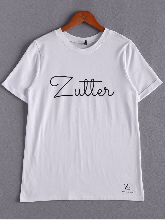 buy White Lettering T-Shirt - WHITE ONE SIZE(FIT SIZE XS TO M)