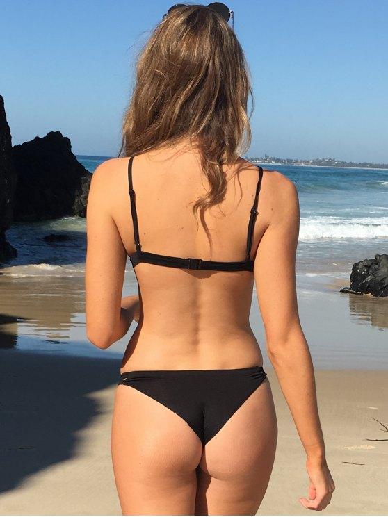 Stylish Women's Criss Cross Spaghetti Strap Solid Color Bikini Set - BLACK M Mobile