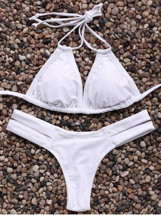 hot Solid Color Spaghetti Straps Bandage Bikini Set - WHITE S