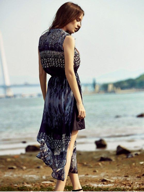 Retro Printed Stand Collar Sleeveless Dress - PURPLISH BLUE L Mobile