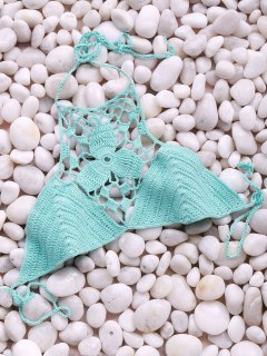 Solid Color Cut Out Halter Crochet Bra - Turquoise