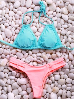 Halter Hit Color Elastic Bikini Set - Pink + Green S