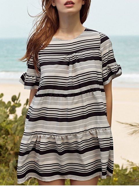 En vrac rayé ronde robe à manches papillon cou - Blanc L Mobile