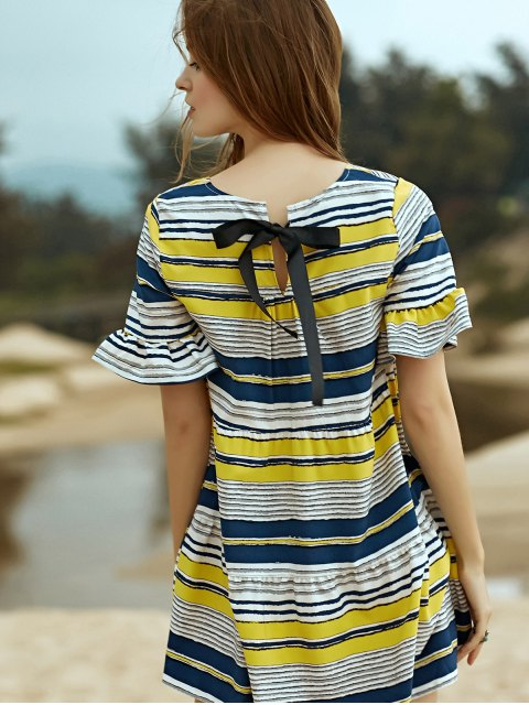 En vrac rayé ronde robe à manches papillon cou - Jaune S Mobile