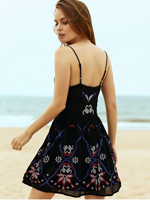 affordable Embroidered Camisole Dress - BLACK L Mobile