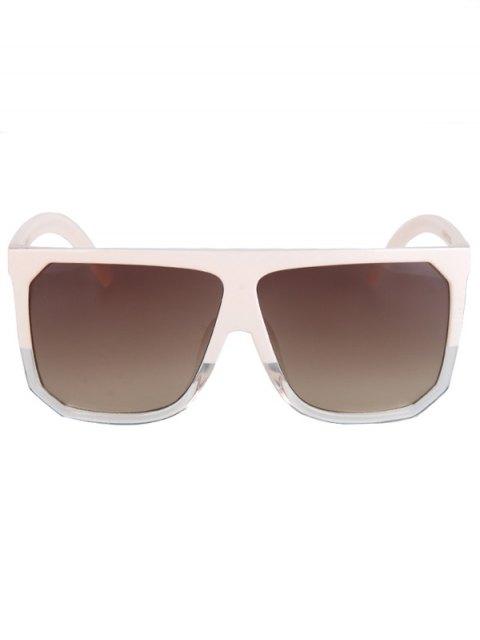 trendy Bicolor Match Big Quadrate Frame Sunglasses - OFF-WHITE  Mobile