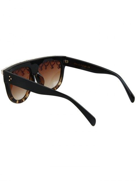sale Rhinestone Pendant Fringed Leopard Match Sunglasses - BLACK  Mobile