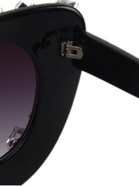 womens Quadrate Rhinestone Cat Eye Sunglasses - BLACK  Mobile