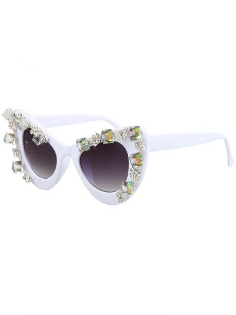 women Quadrate Rhinestone Cat Eye Sunglasses - WHITE  Mobile