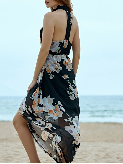 fancy Floral Chiffon Beach Maxi Dress - BLACK XL Mobile
