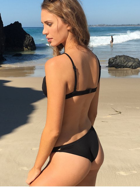shops Stylish Women's Criss Cross Spaghetti Strap Solid Color Bikini Set - BLACK M Mobile