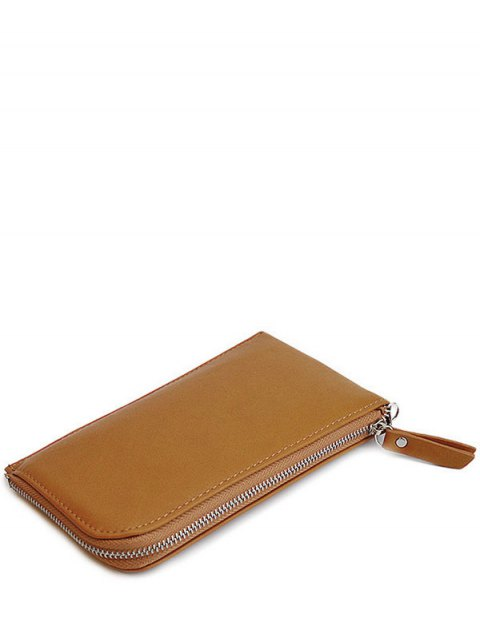 outfits Zip Solid Color PU Leather Coin Purse - BROWN  Mobile
