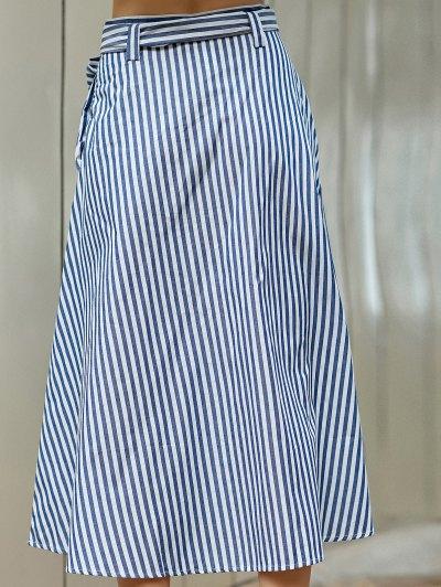 Striped A-Line Belted Skirt - BLUE L Mobile