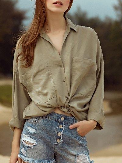 Loose Pockets Turn-Down Collar 3/4 Sleeve Shirt - Green