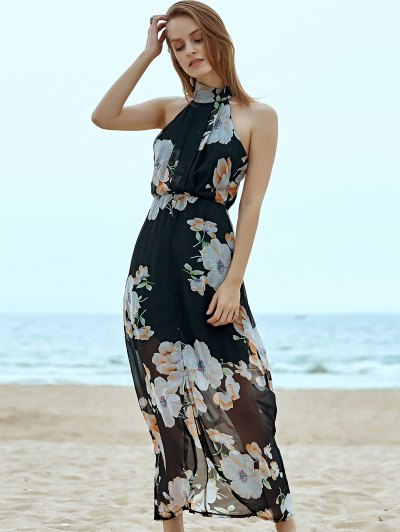 Halter Floral Chiffon Dress - BLACK XL Mobile