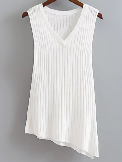 V Neck Solid Color Asymmetric Knitted Tank Top