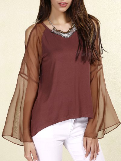 Sexy Scoop Neck Long Sleeves Chiffon Splicing T-Shirt For Women - Coffee