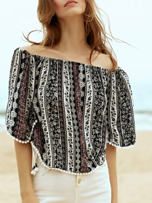 Printed Off The Shoulder Half Sleeve Blouse - Black