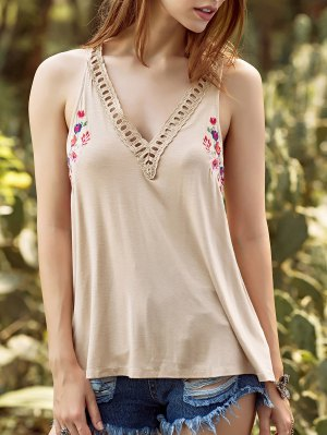 Embroidery V Neck Hollow Out Tank Top - Apricot