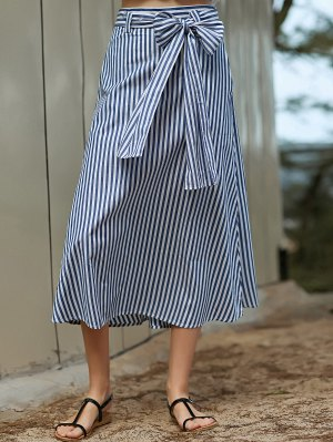 Striped A-Line Belted Skirt - Blue