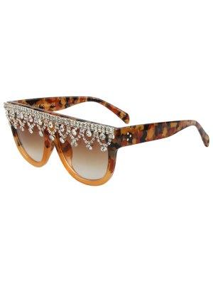 Rhinestone Fringed Camouflage Sunglasses - Earthy