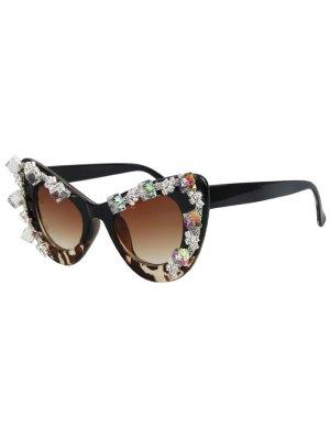 Rhinestone Leopard Match Cat Eye Sunglasses - Black