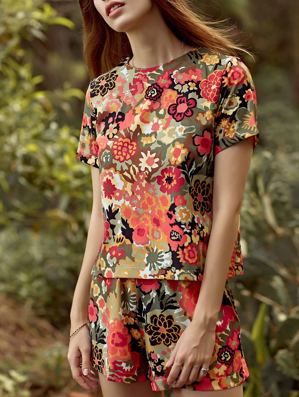 Round Neck Short Sleeve Cut Out Flower Print Romper