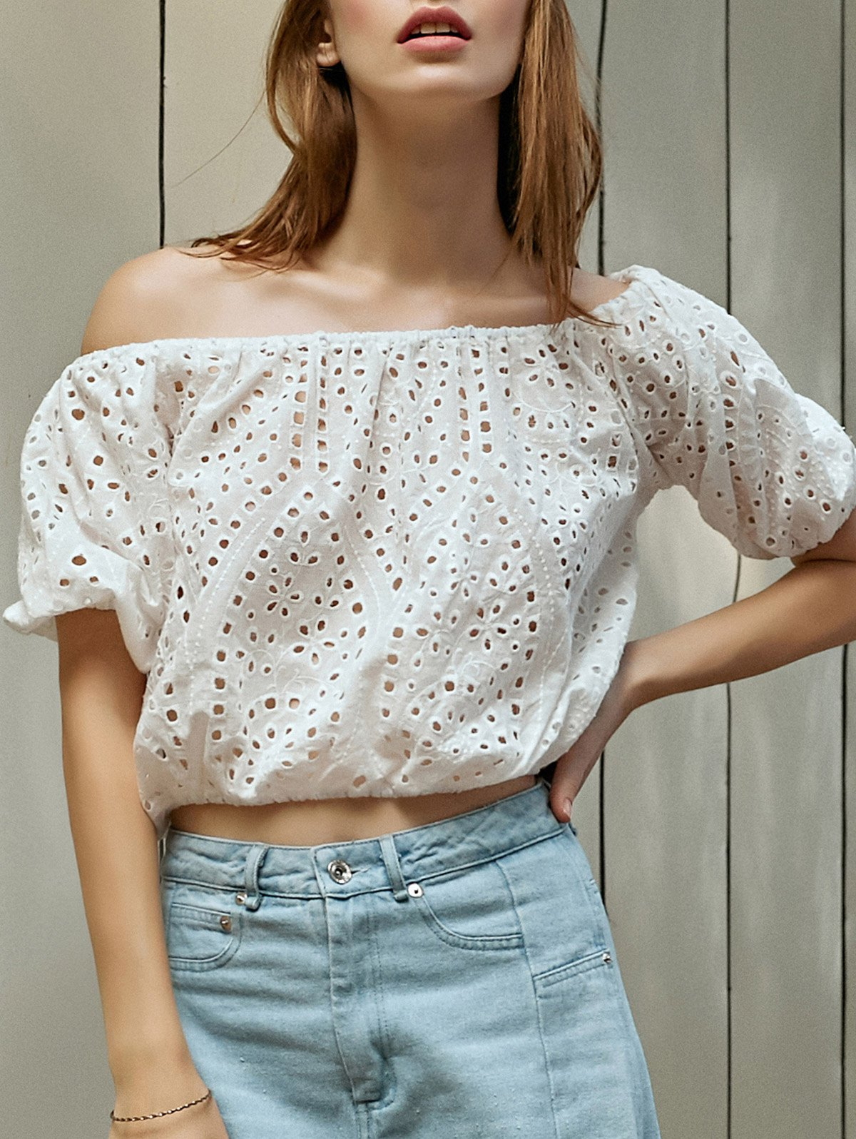 Off-The-Shoulder Cut Work Embroidered White Top