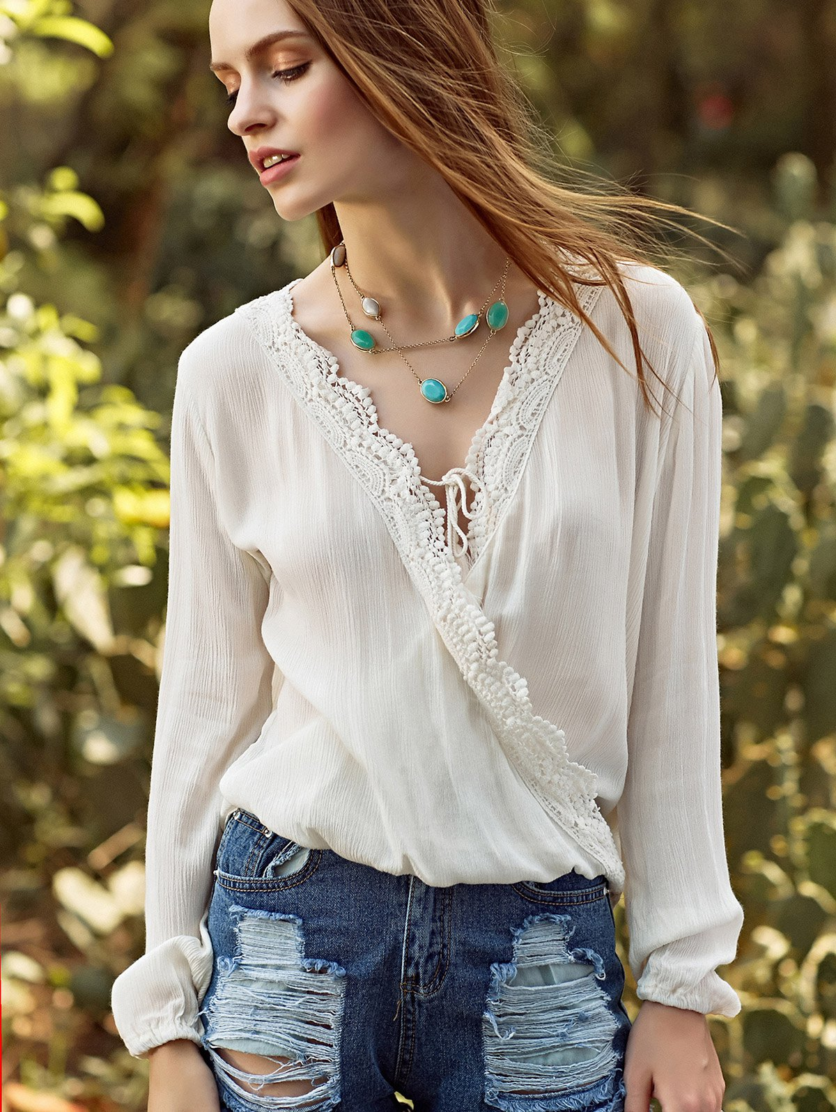 V Neck Long Sleeve Crossed Lacing Spliced Blouse