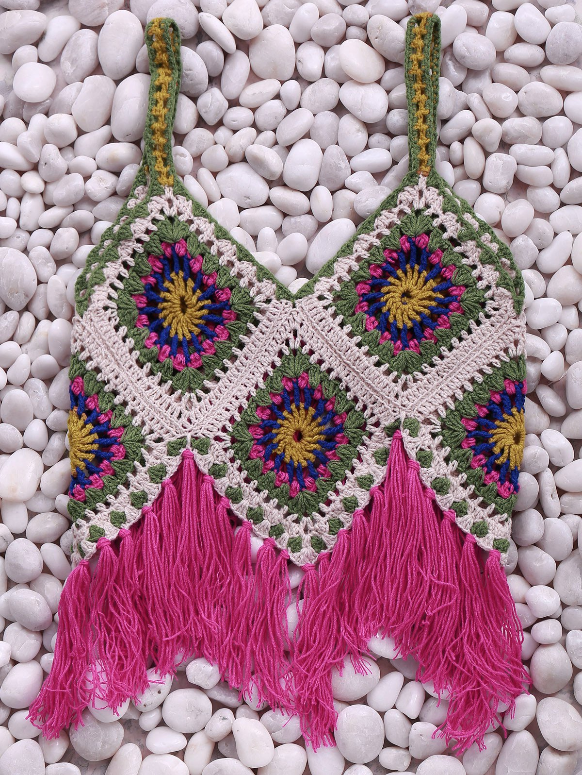 Tassels Cami Crochet Tank TopClothes<br><br><br>Size: ONE SIZE(FIT SIZE XS TO M)<br>Color: RED