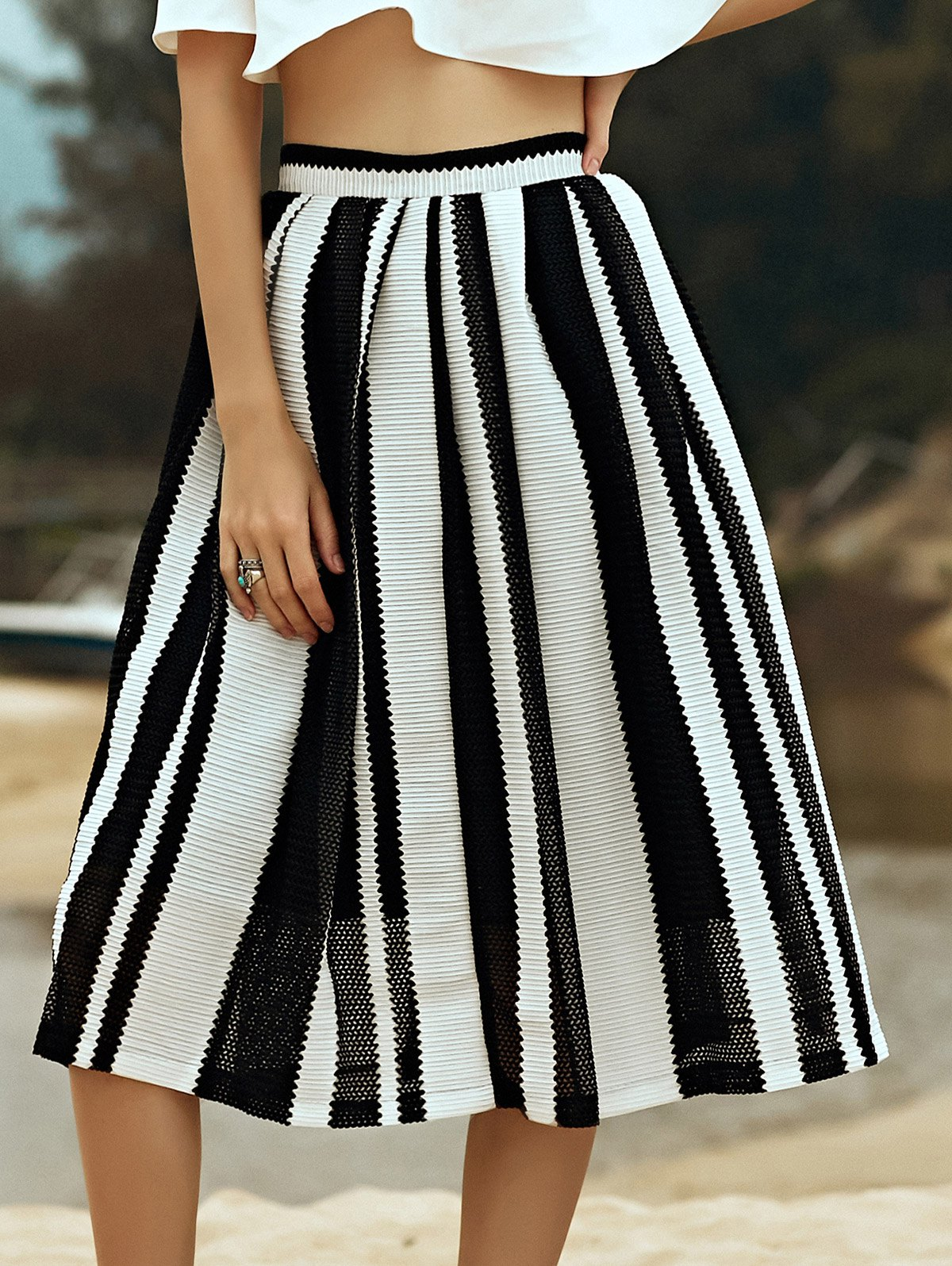 High Waist A-Line Hit Color Striped Skirt