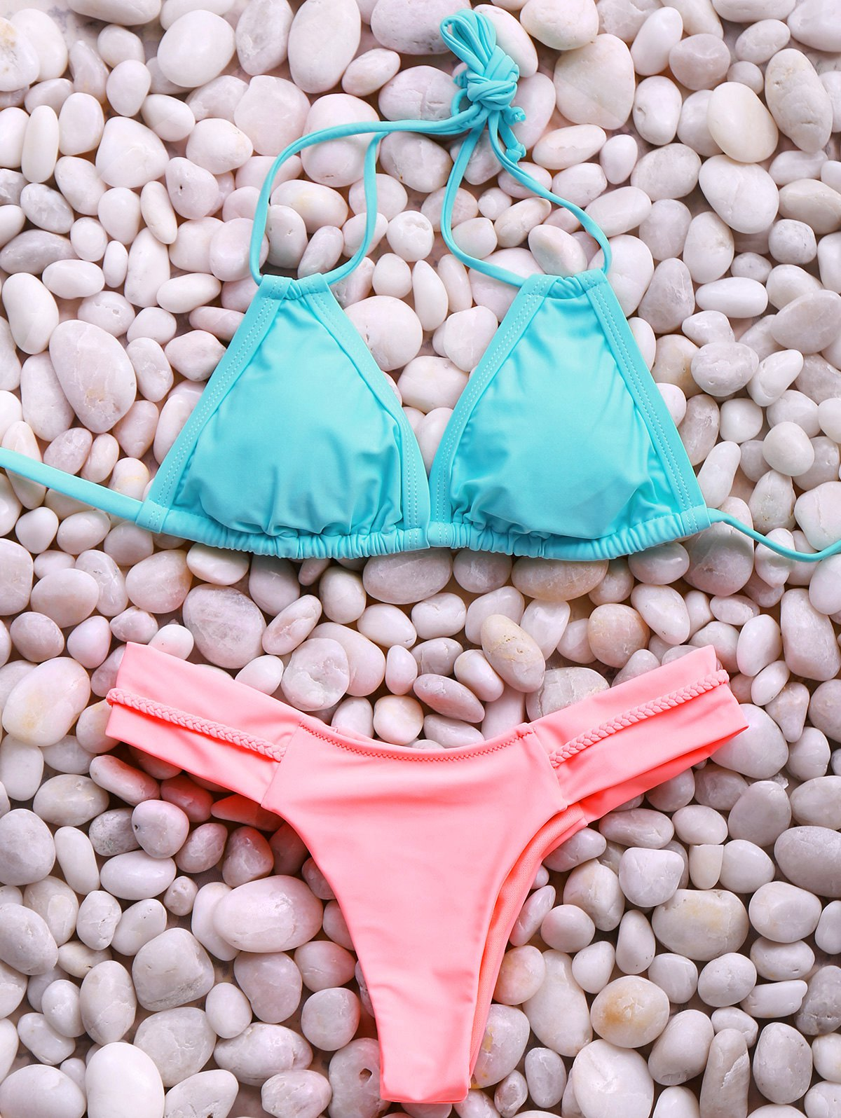 Hit Color Halter Bikini Set