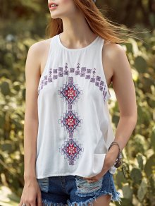 Ethnic Style Embroidery Round Neck Tank Top