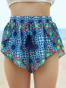Vintage Printed Fringe High Wasit Shorts