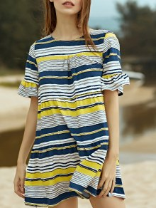 Loose Striped Round Neck Butterfly Sleeve Dress