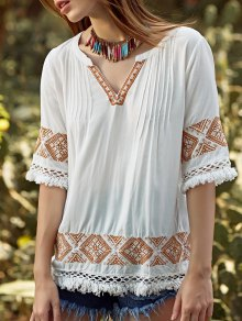Embroidery V Neck 3/4 Sleeve Blouse - White S