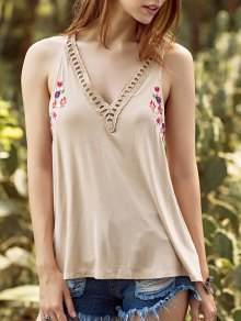 Embroidery V Neck Hollow Out Tank Top