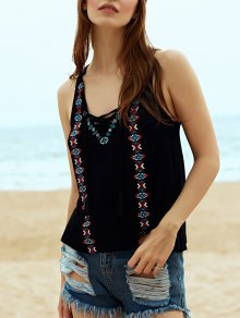Embroidery V Neck Lace Up Tank Top - Cadetblue M