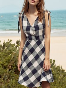 Sleeveless Checked Fit And Flare Dress - S