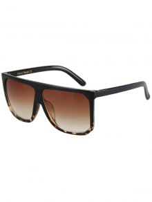 Leopard Pattern Match Quadrate Sunglasses - Black