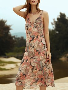 Printed Spaghetti Straps Pleated Chiffon Dress